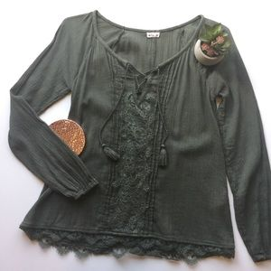 Hollister Olive Green Shirt w/ Lace Embellishment
